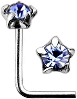 Star Set pietra di cristallo spessore 22 925 Sterling Silver L piegatura Piercing naso