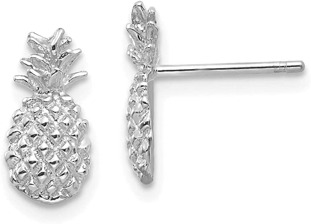 14k White Gold Textured Pineapple Post Stud Earrings Food Drink Fine Jewelry For Women Gifts For Her