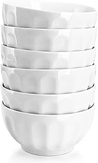 Sweese 106.001 Porcelain Fluted Bowl Set - 26 Ounce for Cereal, Salad and Soup - Set of 6, White