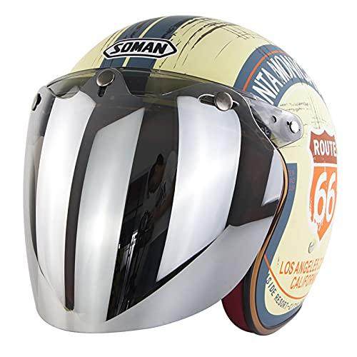 Vintage Half Motorbike Helmet with Vintage Goggles,ECE Approved Motorbike Crash Helmet Retro Vintage Style Motorbike Vespa Jet Half Helmet for Men Women Motorcycle Half Helmet B,XL=61~62cm