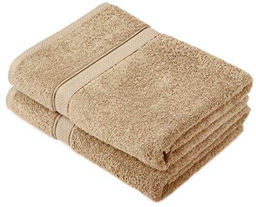 Pinzon by Amazon - Juego de toallas de algodón egipcio (2 toallas de baño), color beige
