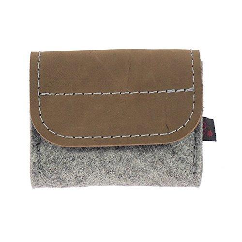 ebos Premium Taschenapotheke für homöopathische Mittel | handgefertigte Globulitasche aus echtem Wollfilz, 6 Schlaufen für Globuli-Röhrchen, Globuli-Etui, Globuli-Mäppchen (Leder braun/hellgrau)