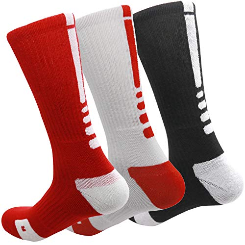 MUMUBREAL Men's Cushioned Compression Sport Socks, Red White Black, One Size (3pack)
