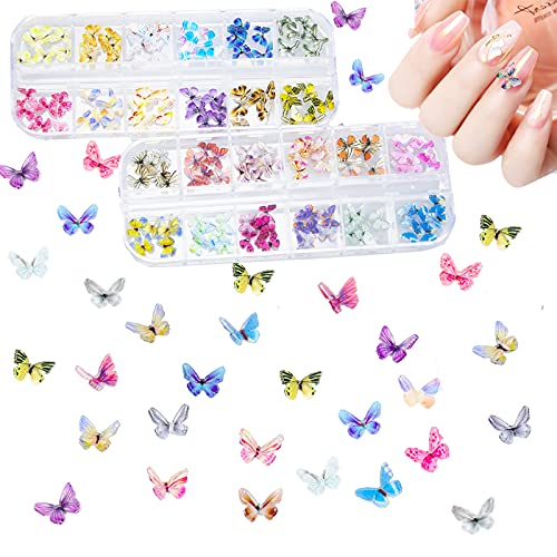 144Pcs 3D Butterfly Nail Charms Resin...