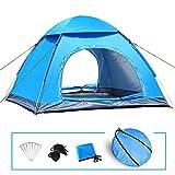 LIVEHITOP Tente Camping Pop Up 3/4 Personnes – Anti UV Tentes Portable Automatique pour Exterieur Plage Familiale 200x200x125cm, Bleu