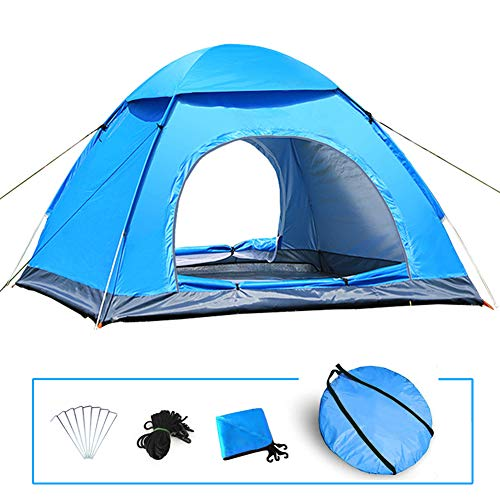 LIVEHITOP Tienda Pop Up Automatica de Campaña 3 4 Personas, Grande Instantánea Tiendas Anti UV para Camping Playa Jardín Familiares Outdoor, 200x200x125 cm (Azul)