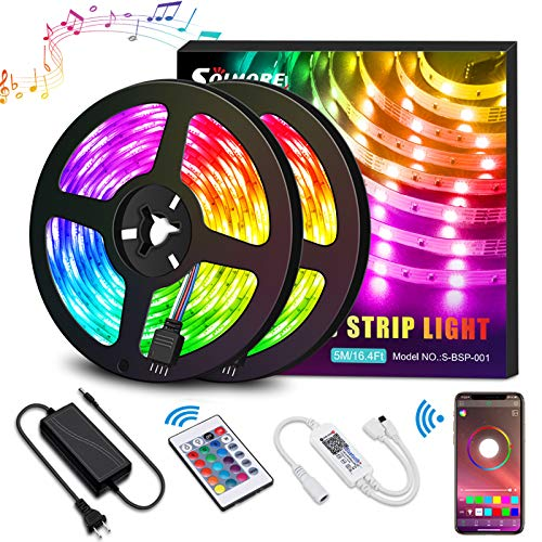 LED Strip RGB 10M LED Streifen steuerbar via App, Led stripes Lichtband Leiste Band mit Fernbedienung und Netzteil, Sync mit Musik 5050SMD 300LEDs, LED Lichterkette für Deko Halloween SOLMORE