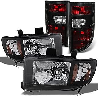 For Honda Ridgeline Pickup Black Headlights Head Lamps Replacement Pair + Dark Red Tail Lights Combo