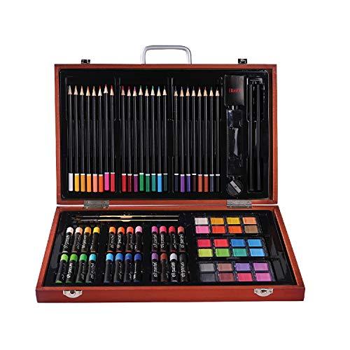 Premium Malset – 82-teilig – Hochwertiger Malkoffer aus Holz mit essentiellen Malmedien – , Ölpastellfarben, Stifte, Pinsel und vieles mehr