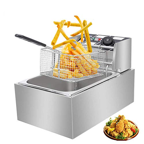6.3QT/6L 2500W MAX Deep Fryer, Stainless Steel Thickened Cylinder Single Electric Fryer with Basket, Chicken Chips Fryer for French Fries Home Kitchen Restaurant, Silver