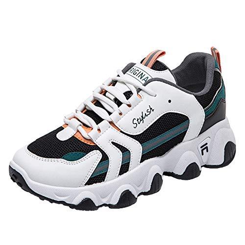 Willsky Entrenadores De Moda Para Mujer Chunky Zapatillas Ligeras De Zapatillas Tampón Transpirable Casual Caminando Con Zapatos De Gimnasio,Negro,39EU