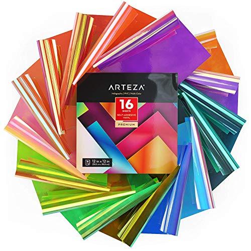 Arteza Láminas decorativas de vinilo holográfico, 30x30 cm, set de 16 vinilos para ventanas y otras superficies, hojas adhesivas de color arco iris ópalo, compatibles con Cricut y otras cortadoras