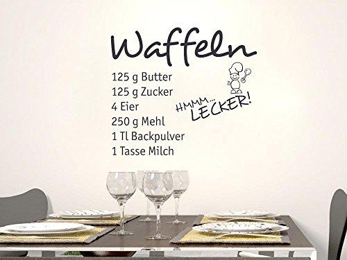 GRAZDesign Wandtattoos Küche Esszimmer Waffeln, Aufkleber für Küche Rezept, Wandtattoo Küche mit Koch / 34x30cm / 090 Silbergrau