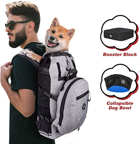 PROPLUMS Dog Carrier Backpack for Small and Medium Dogs Multifunction Pet Sport Sack Air for Walking Hiking and Traveling with Detachable Storage Bag Free Booster Block and Collapsible Dog Bowls (XL)
