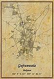 Pakistan Gujranwala Landkarte Wandkunst Poster