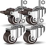 GBL - 4 Lenkrollen mit Gewindeschaft, Rollen für Möbel, Räder mit Bremse Industrieplatten Transport (25 mm mit M8 Vorbau)