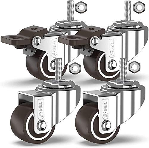 GBL - 4 Ruote Per Carrello 25mm TPR M8x20mm | 40KG Ruote per mobili, Ruota Girevole con Perno Filettato Pesanti, Rotelle con freno per pallet | Rotelline per mobiletti