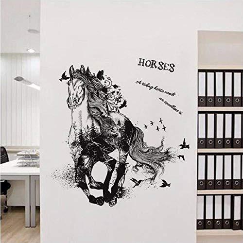 GUDOJK Muursticker Potlood Schets Paard Muursticker Achtergrond Huisdecoratie Decal Patroon Verwijderbare Pvc Vliegtuig Venster Diy Poster voor Studie Kamer