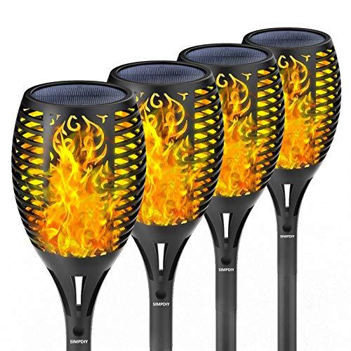 SIMPDIY simulierte Flammen-Solar-Bodenlampe, wasserdicht, lichtempfindliche automatische Ein-/Ausschaltung, Gartendekorationsflammenlampe, Straßenbeleuchtung (4 Stück)