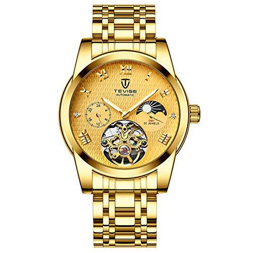 QZPM Hombres Automático Mecánico Relojes Acero Inoxidable Bracelet Luminoso Analógico Multifunción Impermeable Cronógrafo Business Relojes,Full Gold