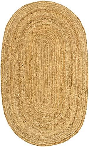 IMPEXART PVT LTD Alfombra de yute para salón, redonda, de algodón tejido a mano, 60 x 90 cm, hilo natural, rústico, respetuosa con el medio ambiente, alfombra reversible para dormitorio, granja