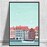 Amsterdam, Barcelona, Nueva York, ciudad de viajes, póster minimalista, impresiones, lienzo, pintura, cuadros de pared, decoración del hotel, sin marco, 50 * 70Cm