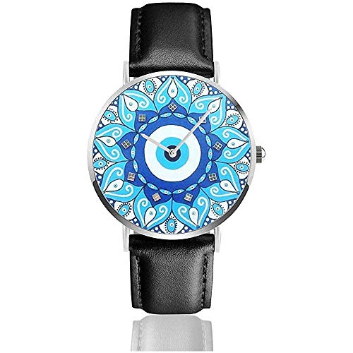 Mandala Greek Evil Eye Symbol Lederarmband Armbanduhren