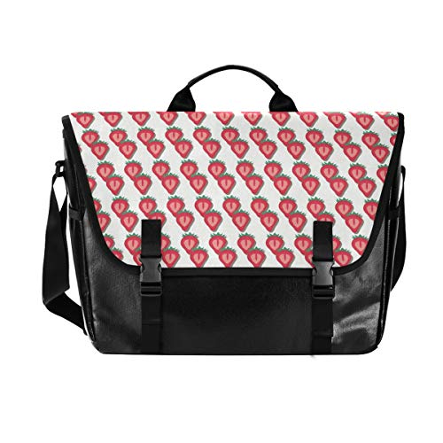 Schultertasche für Damen und Herren aus Segeltuch mit Erdbeer-Motiv, Retro-Design, geeignet für iPad, Kindle, Samsung