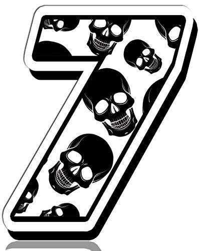 Biomar Labs® startnummer auto moto vinyl sticker schedel doodskop motorfiets motorsport racing nummer tuning 7, N 337