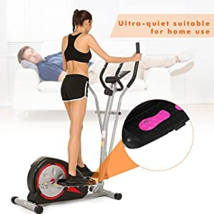 ANCHEER Elliptical Machine Trainer Magnetic Smooth Quiet Driven with LCD Monitor and Pulse Rate Grips, Top Levels Elliptical Trainer for Home Use (Black)