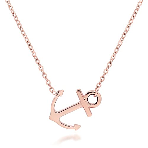 c8126fb44 ELBLUVF 18k Silver Gold Rose Gold Plated Stainless Steel Women Sideways Anchor  Pendant Necklace 18inches Choose