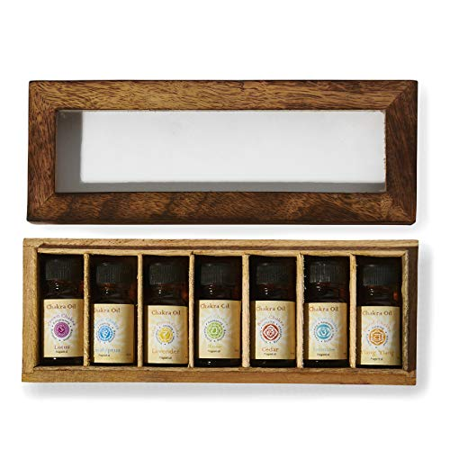 Chakra & Luck Therapeutic-Grade Aromatherapy Chakra Fragrance Oil - Set of 7 Chakras from Crown to Root - (7 x 10ml) Variety Gift Pack with Wood Box