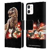 Head Case Designs Ufficiale Jurassic World T-Rex VS. Velociraptors Arte Chiave Cover in Pelle a Portafoglio Compatibile con Apple iPhone 12 Mini