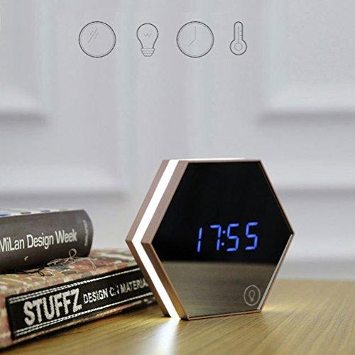 Pixnor 5-in-1Spiegel / Digital-Uhr / Wecker / Thermometer / Nachtlich, Sechskant-Form, mit Touchscreen, LED, weiß, Klein