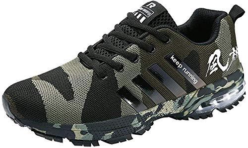 Logobeing Zapatillas Deporte Hombres Running Zapatos Hombre Deportivos Casuales Zapatillas Running Hombre Auriculares Correr en Asfalto Calzado Deportivo Hombre(43,Ejercito Verde)
