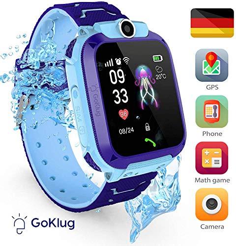 Smartwatch Kinder Tracker Kinderuhr Junge Digital Smart Watch Kinder GPS Uhr Kinder Telefonieren Smartwatch Kinder Telefon Wasserdicht Deutsch Kinder Handyuhr mit Ortung BLAU IP68