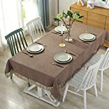 PCYG Pure Color Table Cloth Gland Design Rectangular Coffee Table Cloth Living Kitchen Dinning Tabletop Decorative,110X170Cm,Brown