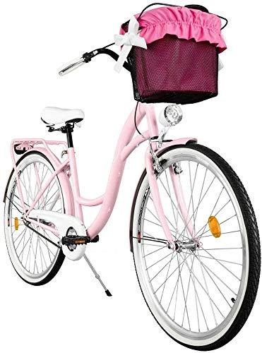 Milord. Komfort Fahrrad mit Korb, Hollandrad, Damenfahrrad, 3-Gang, Rosa, 26 Zoll