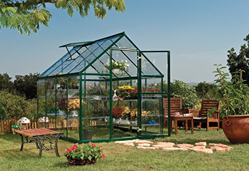 Palram Harmony 6x8 Green Greenhouse - Clear Polycarbonate, Aluminum Frame, Base Included
