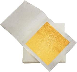 """VGSEBA Edible 24 K Gold Leaf Sheets, 10 Sheets 3.15"""" x 3.15"""" Real Gold Sheets for Makeup, Spa, Crafts, Gilding, Art, Baker..."""