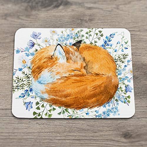 Mousepad fox mousepad blumenblaue blumen mousepad tier mousepad niedliche mousepad kawaii maus matte schreibtisch zubehör büromaterial
