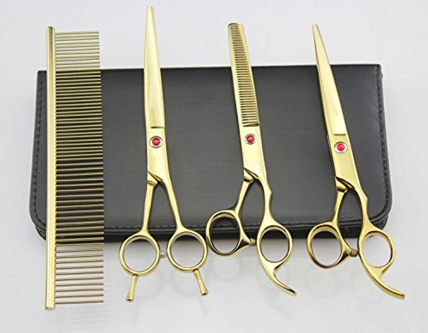 7.0in.Pet Grooming Scissors set, Straight *Thinning &ved forbici 4pcs set, set di governare cani, A428 (oro)