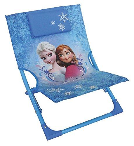 Fun House Reine des NEIGES Chaise Longue Pliante pour Enfant, Acier, Bleu, 39x46x43 cm