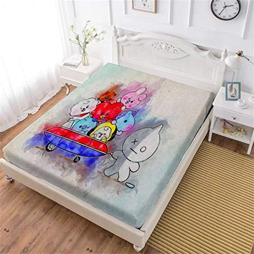 LCGGDB 3D Kpop Fans Customied Fitted Sheet,BTS Watercolor Soft Decorative Fabric Bedding, Stain Resistant Deep Pocket Bed Sheet,Queen Size Sheet Girls Bedding Decor