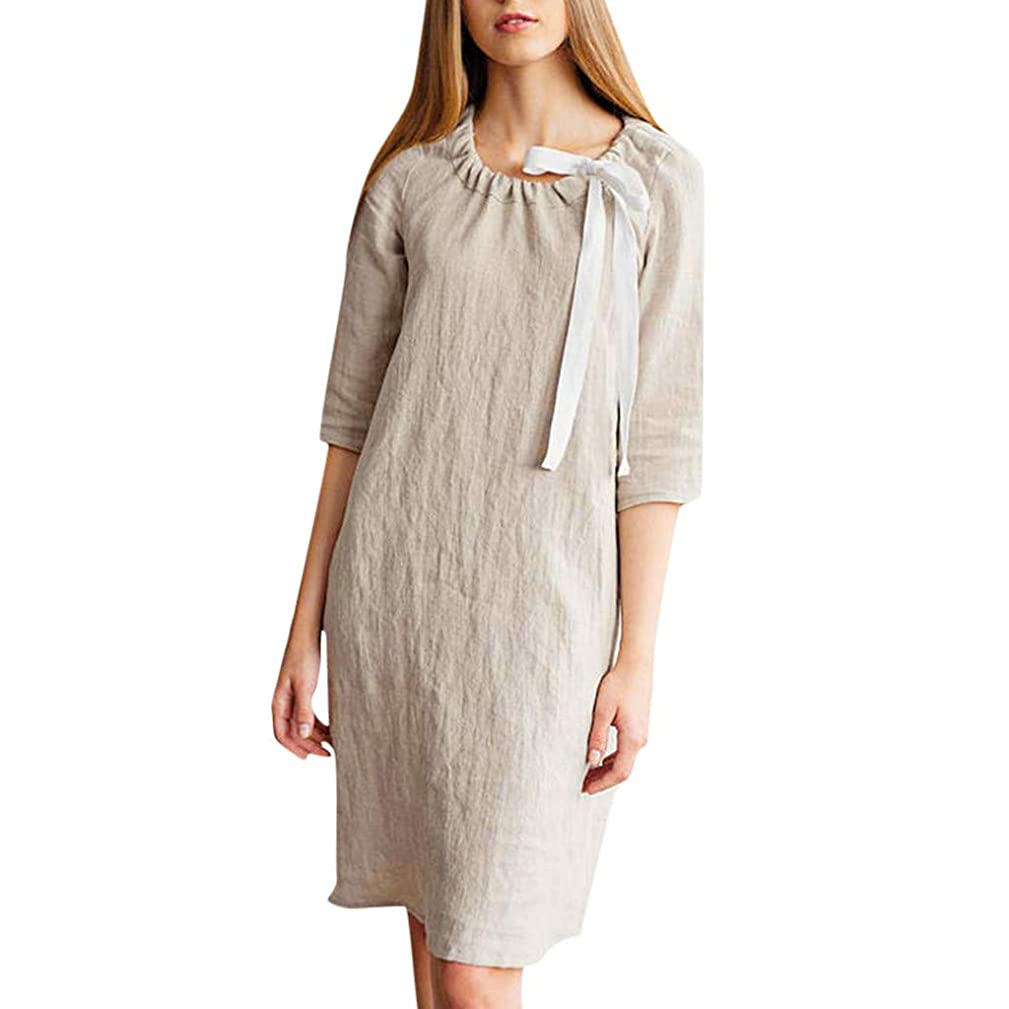 Womens O Neck Loose Solid Half Sleeve Casual Mid Dress,by Yetou