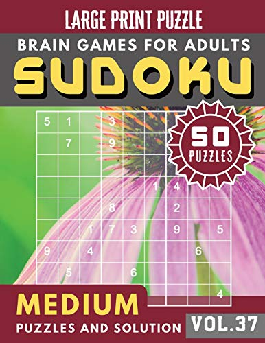 Sudoku Medium: suduko puzzle books for adults medium | Sudoku medium difficulty Puzzles and Solutions For Beginners Large Print (Sudoku Brain Games Puzzles Book Large Print Vol.37)