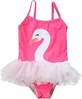 Toddler Baby Girls One Piece Swan Swimsuits Ruffle Tutu Bathing Suit Beachwear
