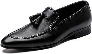 [WEWIN] タッセルローファー メンズ ビジネスシューズ 本革 革靴 Uチップ モカシン スリッポン カジュアル ドレスシューズ 防滑 おしゃれ 黒 ブラック