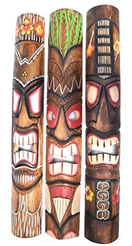 Interlifestyle 3 Tiki Wandmasken im Hawaii Look aus Holz in 100cm Länge Wandmaske 3er Set