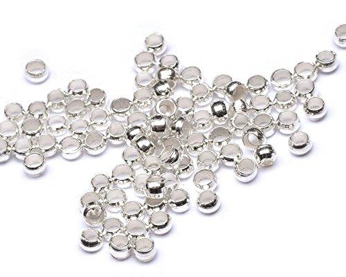 Beads Unlimited Quetschperlen aus Metall, versilbert, 2 mm, 100Stück